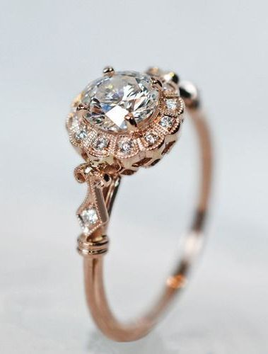 beautiful rose gold diamond solitaire wedding engagement rings