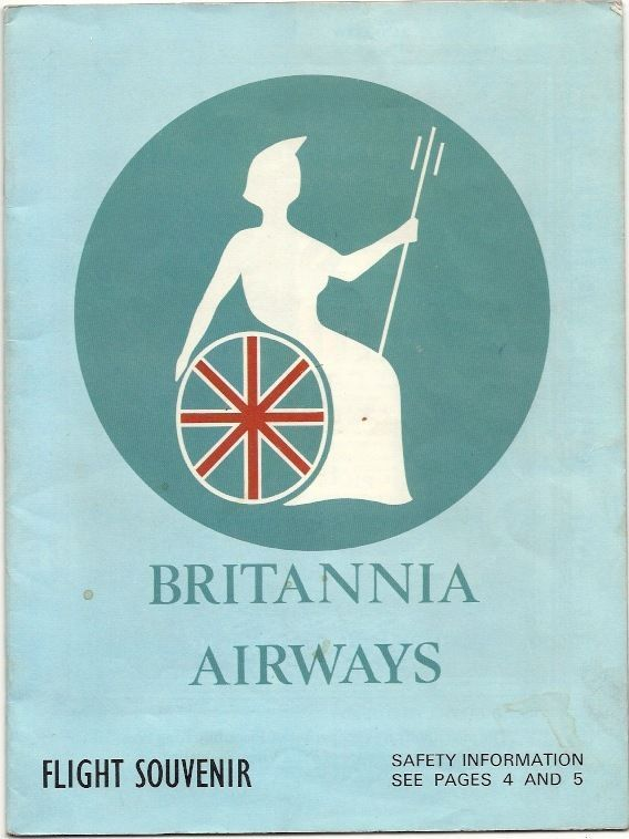 BRITANNIA AIRWAYS VINTAGE SAFETY CARD BRISTOL BRITANNIA 102 BOEING 737  -Britannia Airways Flight Souvenir booklet. This was the precursor to the Safety Cards of today, the booklet is late 60's.   This booklet has Safety Information for the Bristol Britannia 102 and the Boeing 737 including diagrams of emergency exits, life jackets etc.    As well as route maps, bar tariff, Britannia 102 & 737 info and several cigarette and alcohol adverts plus more.