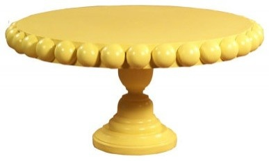 cake pedestal...glue half rounds on to simulate beading?