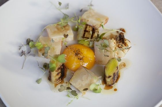 Salt baked celeriac, char-grilled leek and smoked confit egg yolk with Cabernet Sauvignon dressing.  FFFx