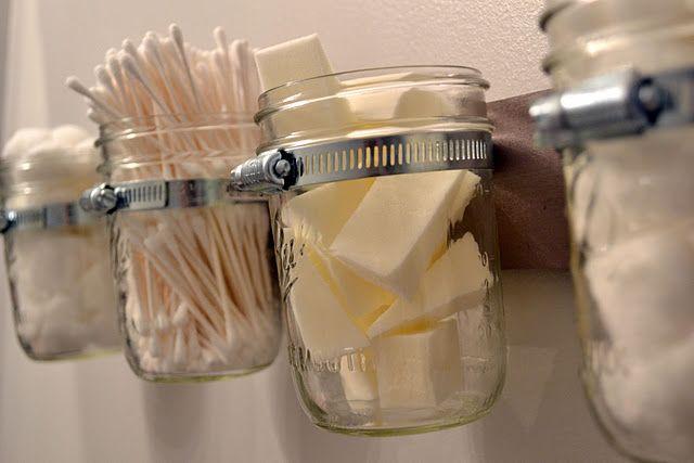 Mason jar storage for bathroom suppliesMason Jar Bathroom, Bathroom Storage, Mason Jars Bathroom, Bathroom Ideas, Bathroomstorage, Bathroom Organic, Storage Ideas, Mason Jar Storage, Crafts