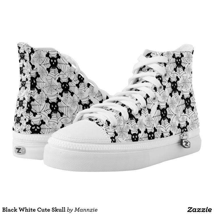 Black White Cute Skull Printed Shoes