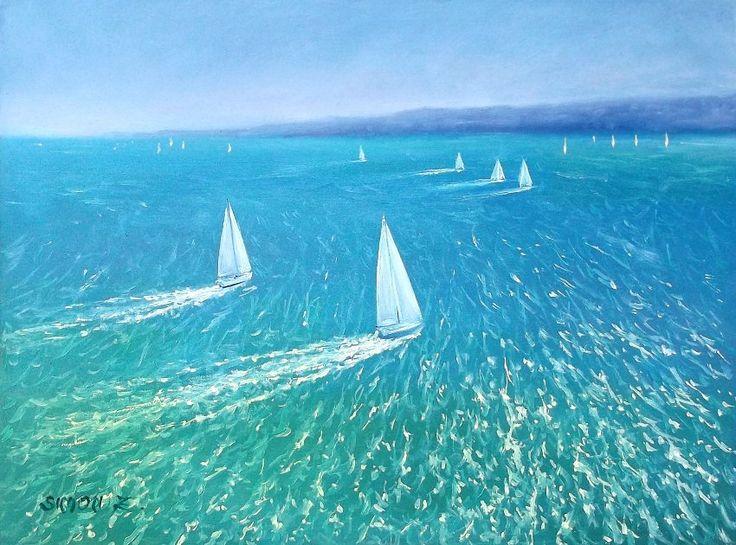Simon Zoltán - White sails  Oil, 30x40 cm.