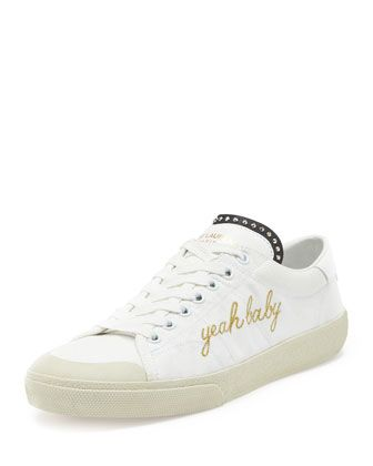 Yeah Baby Canvas Low-Top Sneaker, White by Saint Laurent at Bergdorf Goodman.
