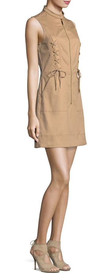 """lace-up a-line dress by MICHAEL Michael Kors. A-line dress. Stand collar. Sleeveless. Exposed front zip. Side slant pockets. About 35"""" from shoulder to hem. Cotton/elastane. Dry clean. Imported. Model shown is 5'10"""" (177cm) wearing a size Small. #michaelmichaelkors #dresses"""