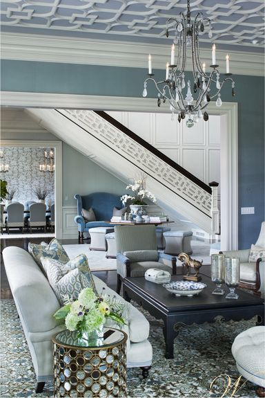 Wadia Associates - Architect - New Canaan - Neoclassical - Foyer - Living Room - Blue - White - Fresh - Crisp - Printed Rug - Upholstered Chair - Sofa - Chandelier - Painted Walls - Coffee Table - Glass Side Table