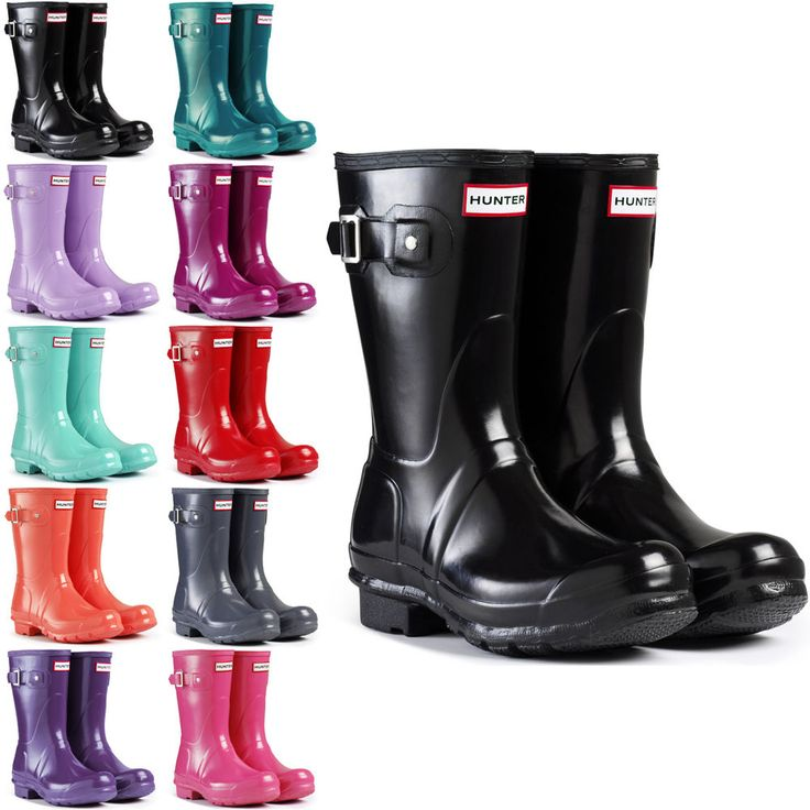 Womens Hunter Wellington Boots Original Short Gloss Snow Wellies Ladies US 5-10 #Hunter #Rainboots