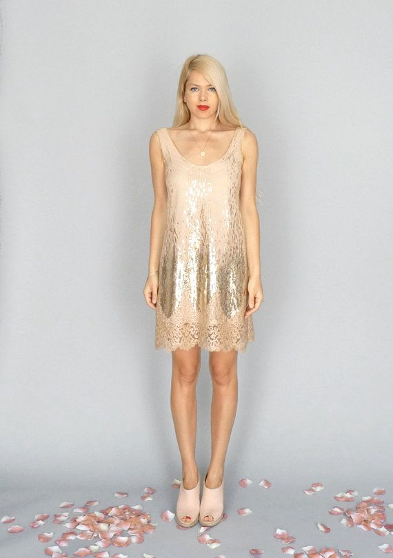 Goldie Gold metallic nude sequin dress sheath tank by dahlnyc, $268.00