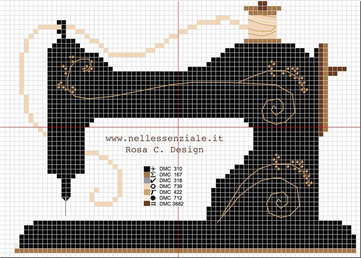 Embroidery : vintage sewing machine cross stitch pattern