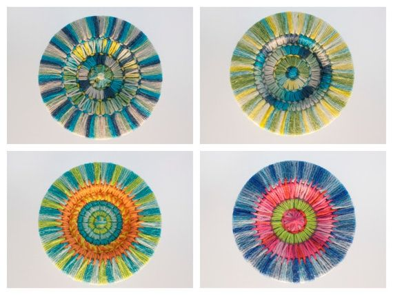 Set of 4 handmade mandala flowers for christmas ornament, coaster, pendant, dreamcatcher or wall decoration.  Decorate your christmas tree with