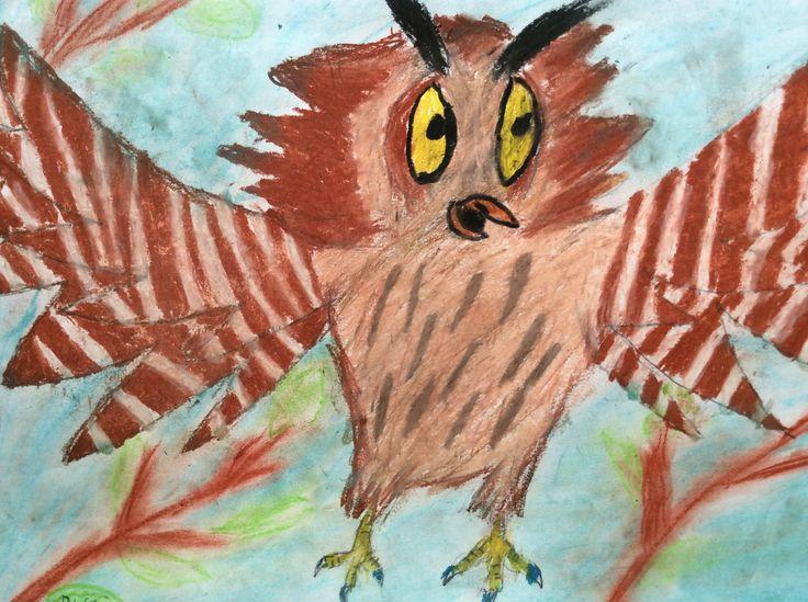 Oil pastel owl.