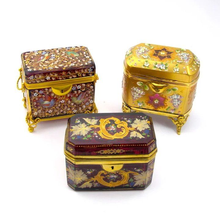 Antique Moser Glass Enameled Casket in 2019 | small