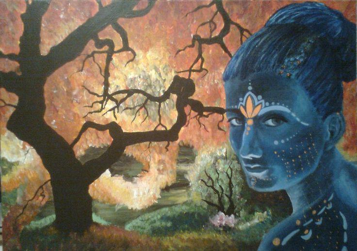Az erdő hercegnője, akrilfestmény, 50x70 cm vászon