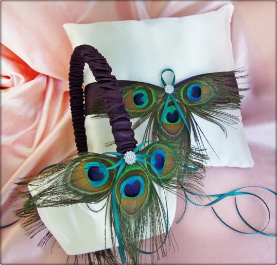 Peacock Wedding Lapis and Teal Accents Flower Girl Basket and Ring Pillow