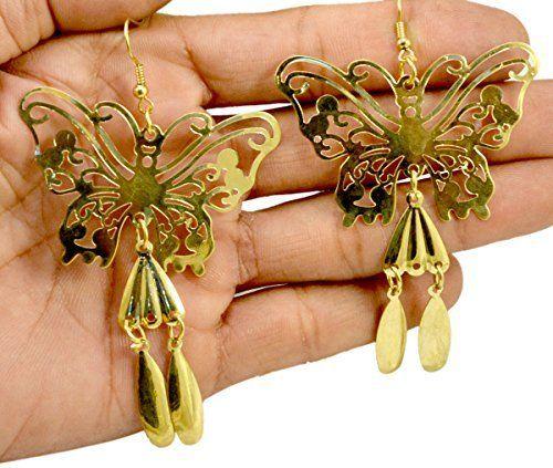 A Pair of Indian Brass Metal Cute Butterfly Design Hippie Danglers Fashion Earrings Krishna Mart India http://www.amazon.com/dp/B00UOYARHS/ref=cm_sw_r_pi_dp_kW.xwb17TZT57