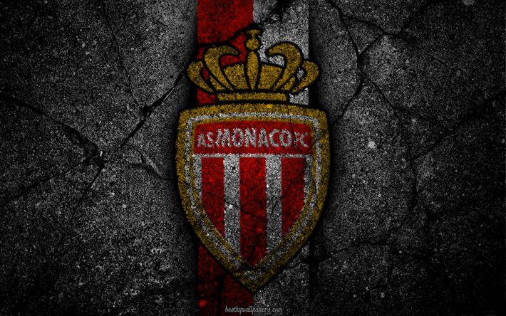 تحميل خلفيات موناكو, شعار, الفن, الدوري الإسباني 1, كرة القدم, نادي كرة القدم, كما موناكو, الدوري الفرنسي 1, الجرونج, Monaco FC