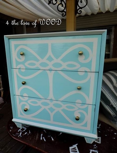 Painted dresser with scroll detail