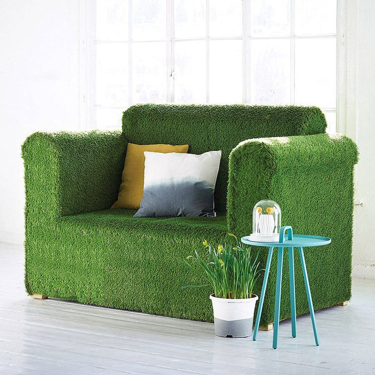 Outdoor garden sofa with a contemporary twist! Artificial grass 2 seater sofa