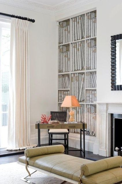 In homes with two or more reception rooms, the drawing room is usually a spare Without the major upheaval of conversion or removing walls, it is the perfect size for a really comfortable study. I love the use of the library wallpaper in the recess here — it creates a great feeling of depth