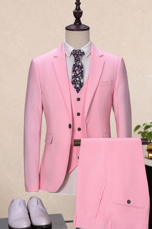 c0c2f271400 Latest Coat Pant Designs Pink Wedding suits For Men Tailored Suit Groom  Tuxedo Slim Fit Blazer Terno Masculino Jacket+Pants+Vest