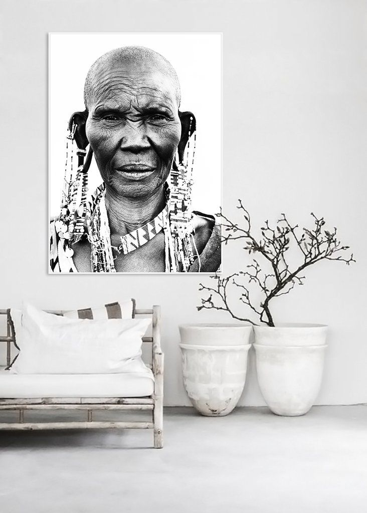 $290 Tribal African Woman Framed Black & White Wall Art