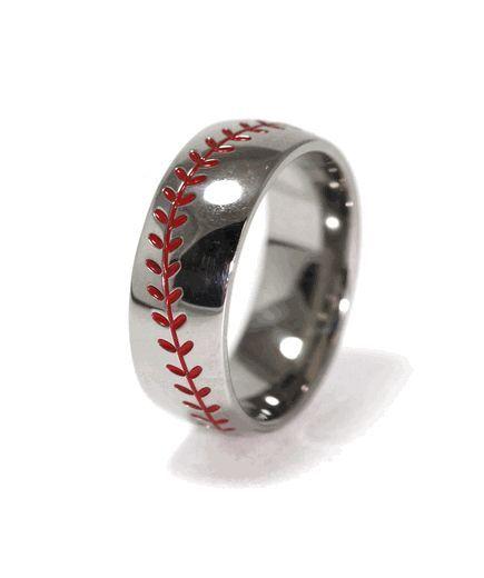 Baseball Wedding Band, Sports Wedding Rings - Titanium-Buzz.com sports save the dates, baseball save the dates #wedding #sports