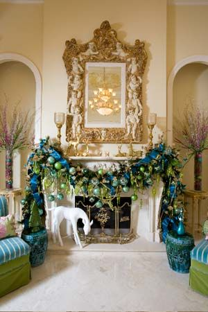 Beautiful turquoise and green mantle for Christmas