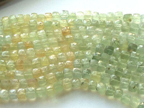 Prehnite Beads Prehnite Faceted Box Beads by gemsforjewels on Etsy