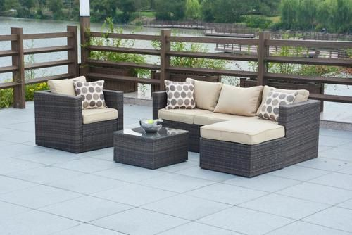 Trudy Wicker 4 Piece Rattan Outdoor Patio Furniture Set