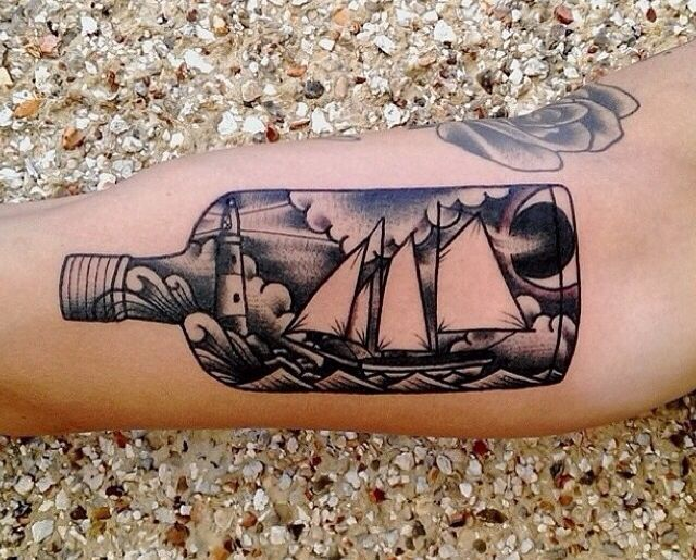 Ship in a bottle tattoo