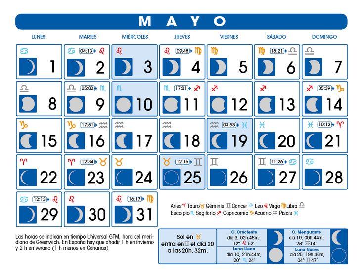 Las 25 mejores ideas sobre calendario mayo 2017 en for Calendario lunar mayo