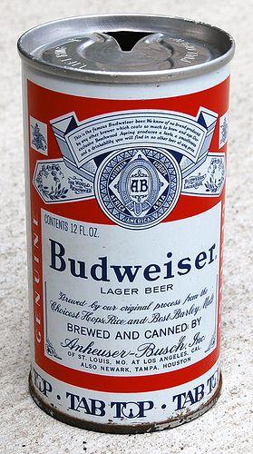 Budweiser Beer Tab Top Can, 1960's #Budweiser #Beer #Beerlovesyou