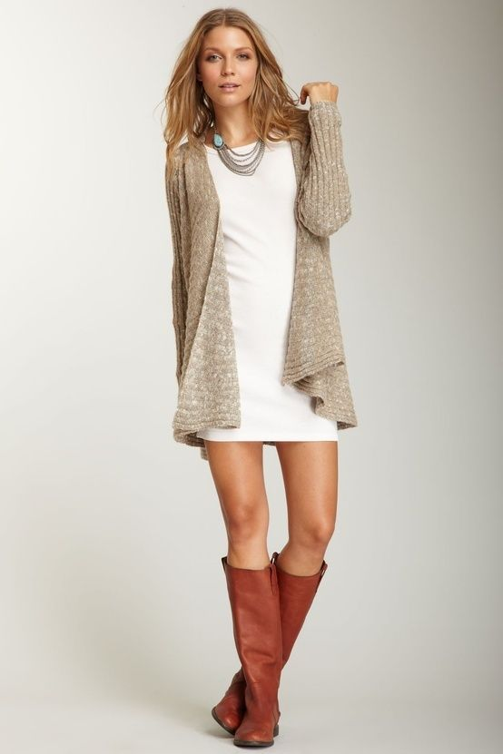 White dress, beige sweater, brown boots and necklace!!!