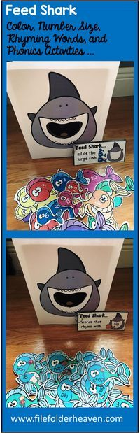 These Feed Shark Activities are a GREAT additon to the Big Big Shark Adapted Book and Vocabulary Activities or and Ocean Themed Unit you are working on in your classroom. There are so many ways to use this Feed Shark Set.  I have left it very open ended so that you can target the skills you need to target in a small group setting. I have also included instruction cards for each set so that you can set the activity up as an independent center, and/or sensory bin activity.