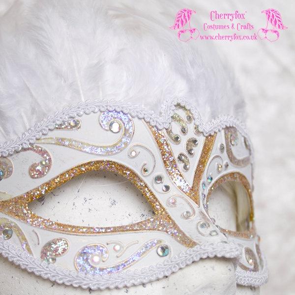 Bridal Mask 'White Swan' AB Gold, Venetian, Feather, Masquerade, Carnival, Snow Queen, Wedding, Rhinestone, Fetish, Victorian, Steampunk. £39,00, via Etsy.
