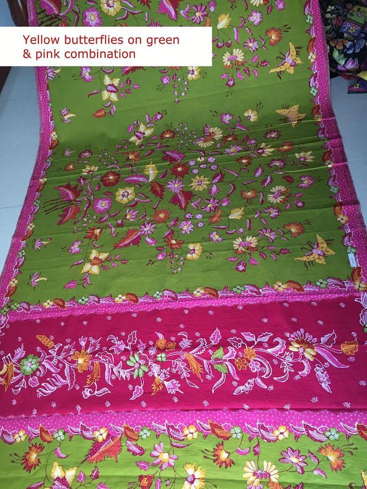 Yellow butterflies on green & pink combination