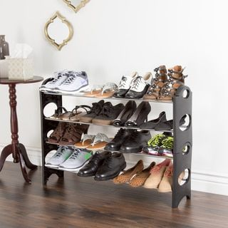 Everyday Home 4 Tier Stackable Shoe Rack 16 Pair Capacity - Black | Overstock.com Shopping - The Best Deals on Closet Storage