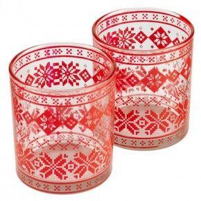 Nordic Print Glass Tealight Holder 2 Pack