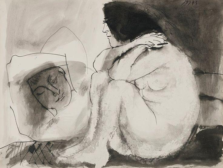 """colin-vian:  """" Pablo Picasso. Femme contemplant un homme endormi (homme couché et femme assise), 1943  """""""