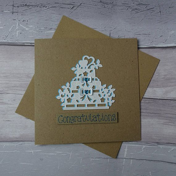 Wedding cake card Handmade white wedding card Just Married