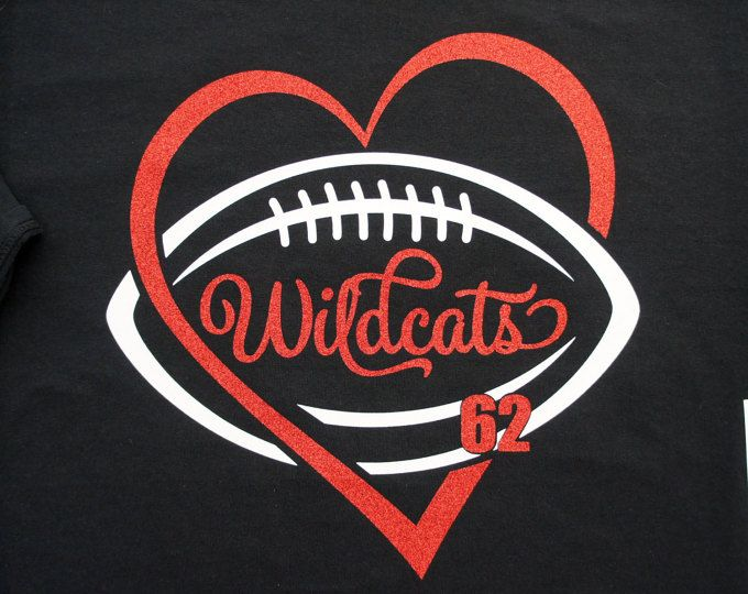 Custom Football Glitter Heart Shirt, Long sleeves, Sweatshirt - personalize for team name (Wildcats shown), team colors and player number!