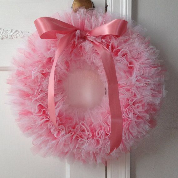 """Pink and White Ballerina Party Tutu Wreath/ It's a Girl Wreath - 14"""""""
