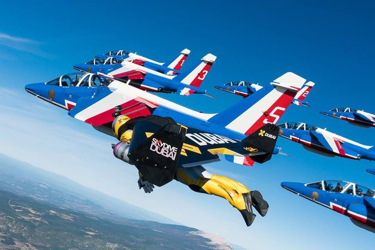 The three Jetmen Yves Rossy, Vincent Reffet and Fred Fugen flew together with the Patrouille de France in an unprecedented aerial choreography. Little more than one year ago, Jetman Dubai flew in f…