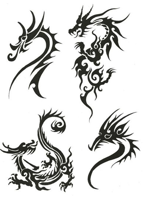 Twin Dragon Tribal Tattoo Designs