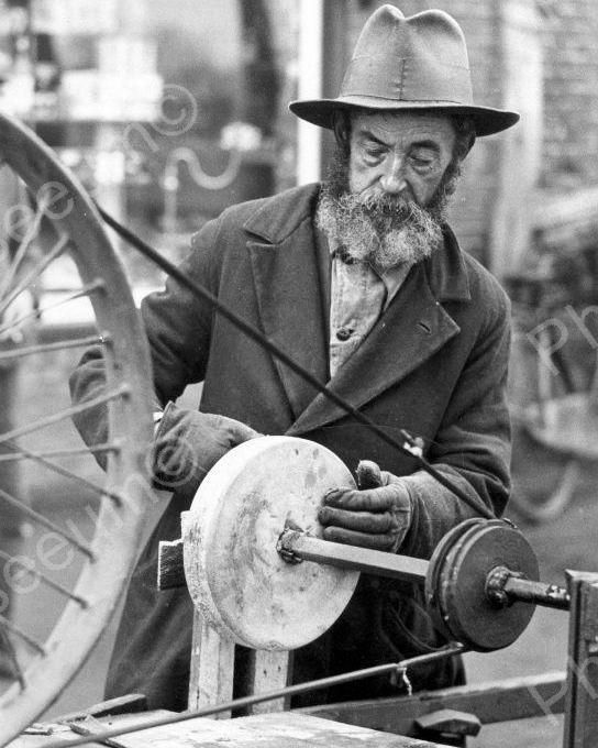 Street Sharpener Using Grindstone Vintage 8x10 Reprint Of Old Photo