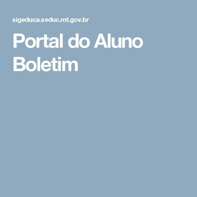 Portal do Aluno Boletim