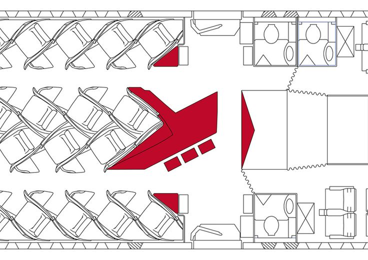 Airbus floor plan for Virgin.  Red is the bar.