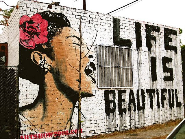 Life is beautiful (street art, graffiti, public, urban, wall, building, great, amazing, beautiful, cool, interesting, creative)