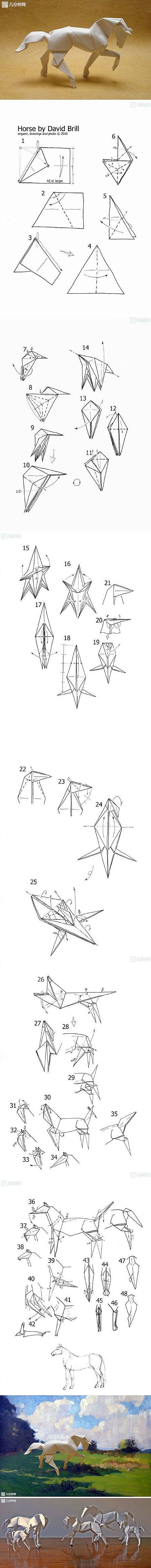 David Brill's Origami Horse - diagram instructions