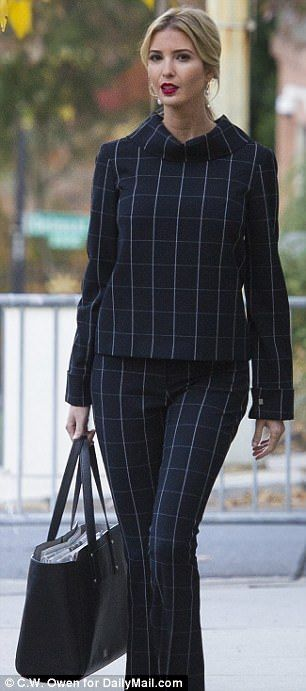 Ivanka Trump dons a checked top with matching flare pants | Daily Mail Online